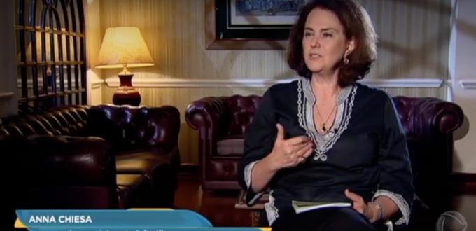 Anna Maria Chiesa dá entrevista ao Domingo Espetacular Record